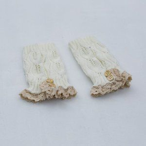 Steve Madden Knit Boot Cuffs With Lace Ivory Tan